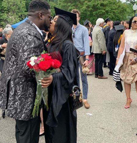 Davido's elder brother shares a kiss with his boo as she graduates from Georgetown University