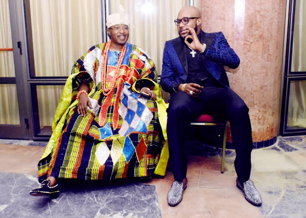 E-money and Oluwo of Iwoland at President Buhari's second term inauguration