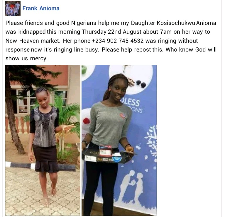 Daughter Of Former Governor's Aide Kidnapped In Enugu