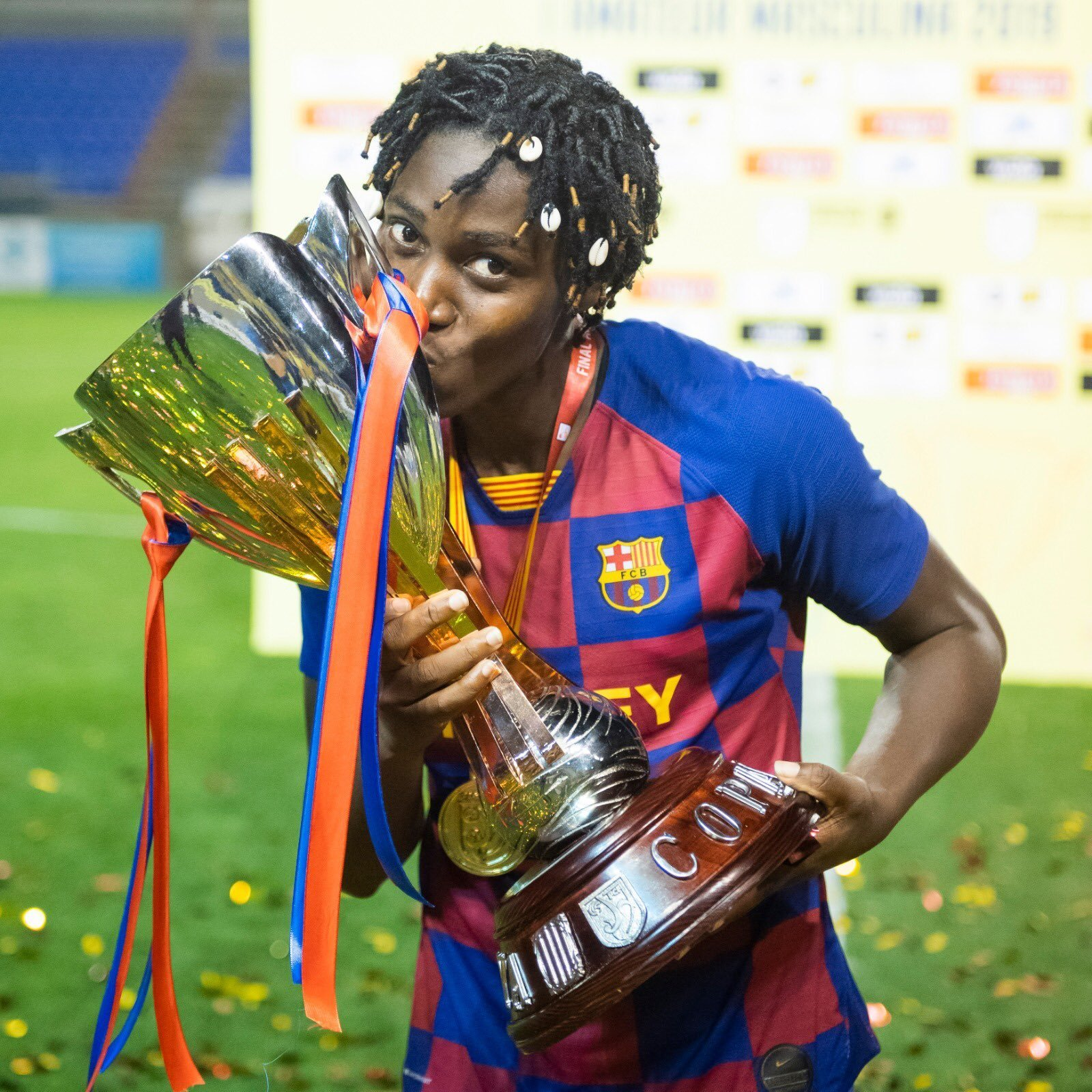 Oshoala Celebrates First Barca Trophy After Opening First Goal