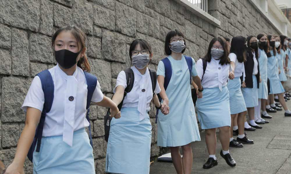 Protests Continue In Hong Kong, Students Form Human Chains