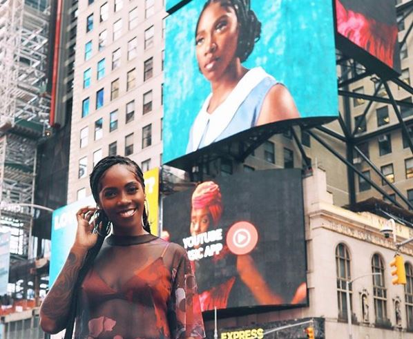 Tiwa Savage Jubilates After '49-99′ Gets Featured On New York's Time Square Screen