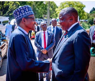 Photos: Buhari Finally Meets With South African President, Cyril Ramaphosa