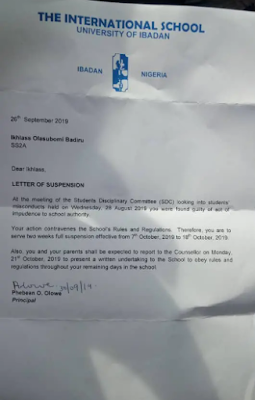 Suspension Letter: University of Ibadan International School suspends student for wearing hijab to school