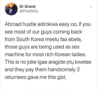 'South Korean Rich Ladies Are Using Nigerian Men As Sex Toys' – Man claims