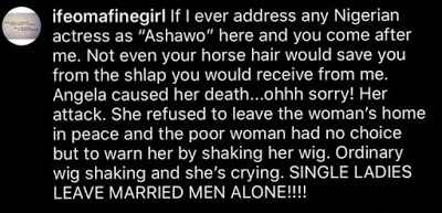 Angela Okorie Was Attacked For Sleeping With A Man And His Wife – Lady Claims