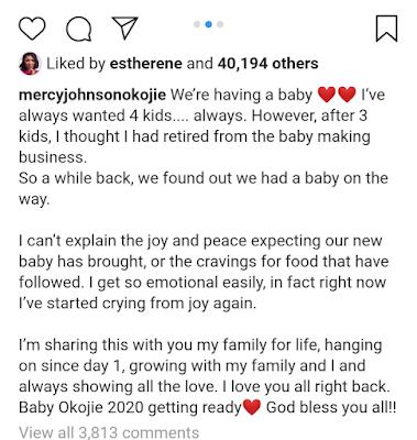 'I Am Expecting A 4th Child' - Mercy Johnson Reveals