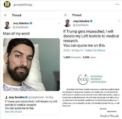 Man Keeps To His Promise, Donates His Left Testicles After Trump's Impeachment