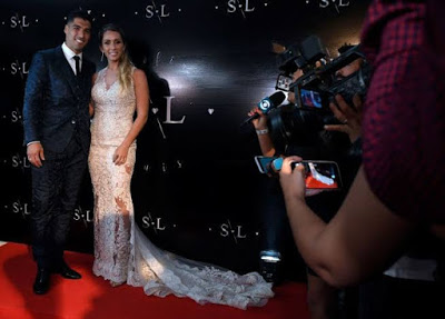 Barcelona striker Luis Suarez  Renews Wedding Vows (Photos)