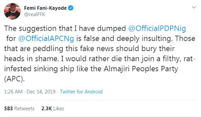 'I Will Rather Die Than Join APC' - Femi Fani-Kayode
