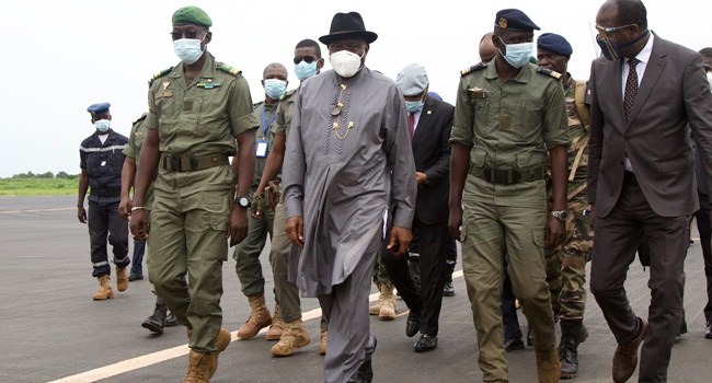Jonathan Arrives Mali With ECOWAS Delegation