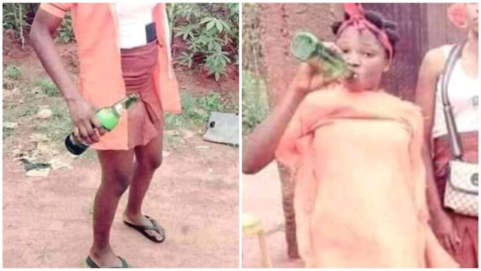 Female Secondary Students Drink Beer To Celebrate WAEC Final Paper In Cross River