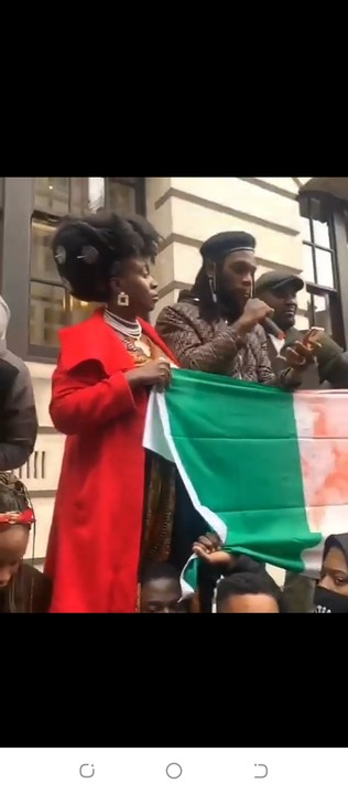 Burna Boy Joins #EndSARS Protest At London(Photos, Video)