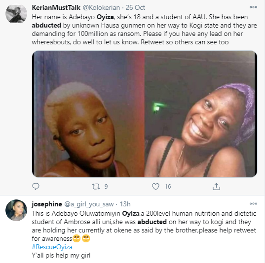 18-Year-Old AAU Female Student Kidnapped On Her Way In Kogi (Photos)