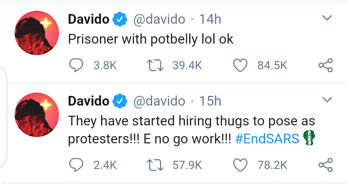 """#EndSars: Davido Raises Alarm - """"The People That Broke Into The Prison Are Criminals, Not Part Of Our Cause"""""""